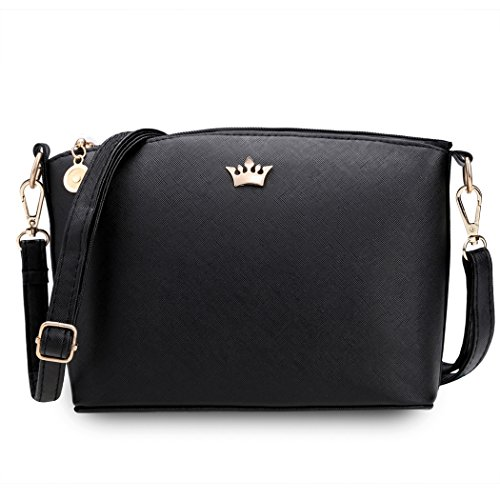 Donne borsa - All4you PU pelle solida spalla Casual piccola borsa Messenger Tote(Black)