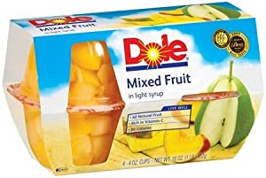 Dole Mixed Fruit Bowl in Light Syrup 4 - 4 oz cups (Pack of 6)