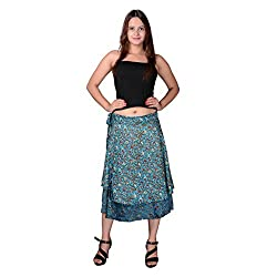 Uttam Enterprises Moss Crepe Printed Turquoise Color Small Rose Print Partywear Mudiam Wrap around Skirt
