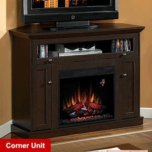 ClassicFlame Windsor Wall or Corner Electric Fireplace Media Cabinet in Oak Espresso - 23DE9047-PE91 image B0089AN974.jpg