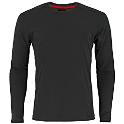 adidas Men\'s Baselayer Climacool UPF Long-Sleeve Crew Top, Black, Medium