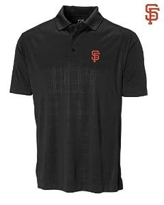 San Francisco Giants Mens DryTec Sullivan Embossed Polo Shirt Black by Cutter & Buck