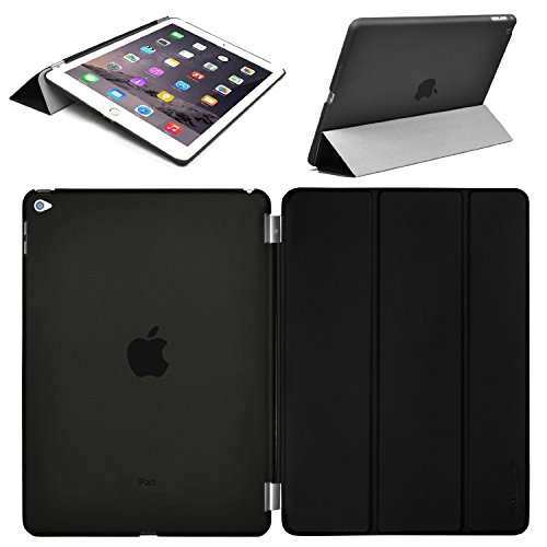Swees® Smart Cover and Case posteriore per Apple iPad Air 2 / iPad 6 (2014 rilascio ottobre) Custodia Poliuretano slim più back cover Case Fronte Retro - Nero