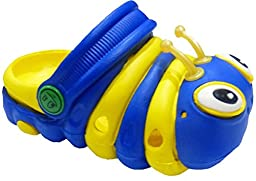 Clogstrom Clogs for Infant or Toddler Boys and Girls Unisex Sandal Animals Shoe (8 Blue/Yellow)