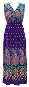 Peach Couture Exotic Tahiti Multicolor Border Print Maxi Dress