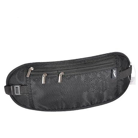 シークレットウエストポーチ 黒色 薄型 海外旅行 安心 貴重品入れ