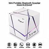 ELEGIANT  Bluetoothスピーカー重低音 LEDライト搭載 HI-FI ポータブルミニ キューブ型スピーカー Bluetooth ステレオ サウンドボックス mp3プレーヤー、内蔵FMラジオ、内蔵マイク 省電力設計 日本語取り扱う説明書対応