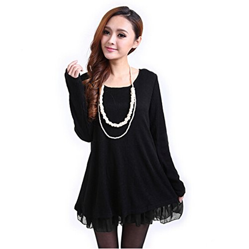 Kingso®Womens Fashion Long Sleeve Round Neck Loose Casual Mini Dress Black 4Xl