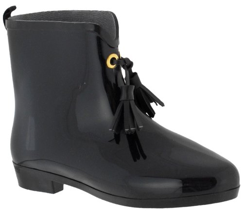 Capelli New York Opaque With Tassels Ladies Mademoiselle Bootie Jelly Rain Boot Jet Black 10 at Amazon.com