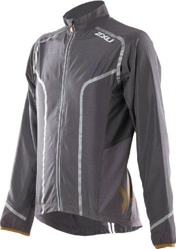 2XU 2XU Men's Active 360 Run Jacket, Charcoal/Flame Orange, Large
