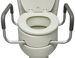 Essential Medical Supply Elevated Toilet Seat with Arms, Elongated