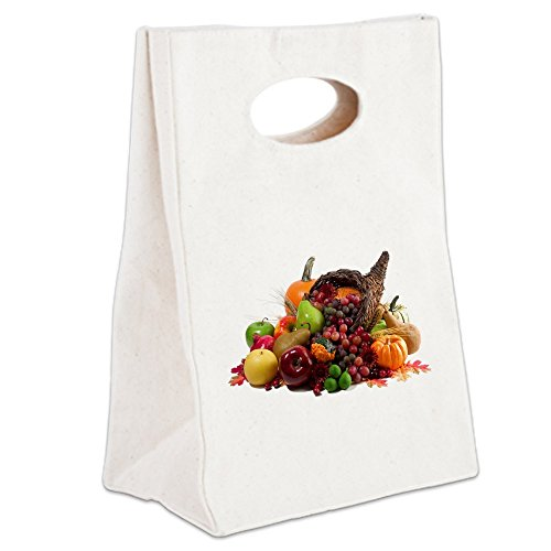 Canvas Lunch Tote Thanksgiving Turkey Cornucopia (Halloween Cutouts For Pumpkin Carving)
