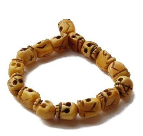 HAND MADE REAL OX BONE SKULL BUDDHIST ROSARY BRACELET BEADS GOTHIC UNIQUE UNUSUAL GIFT IDEA