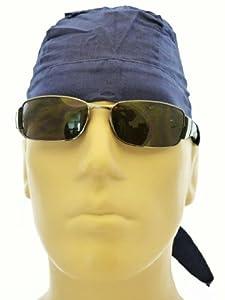 Navy Blue Skull Cap aka Bandana Head Wrap Medical Cap Biker Cap Exercise Work