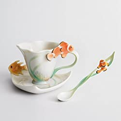 Franz Porcelain By The Sea Design Cup Saucer Set Spoon