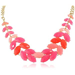 Tonal Pink Cabochon Fern Statement Necklace, 19.125