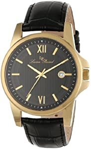 Lucien Piccard Men's 10048-YG-01 Breithorn Black Textured Dial Black Leather Watch