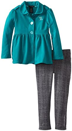 Calvin Klein Little Girls' Jacket with Pants, Green, 2T