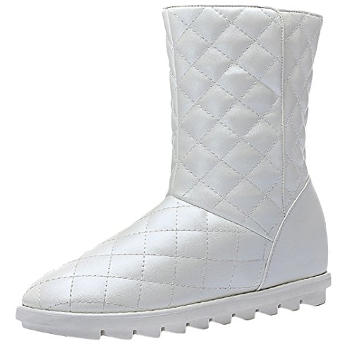 [Passionow Womens Winter Style Fur Lining Waterproof Short PU Boots (8 B(M)US,white)] (Suede Renaissance Boot Costumes)