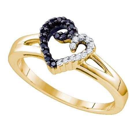 Sterling Silver 0.17 Carat (ctw) Micro-Pace Heart Ladies Black Diamond Ring