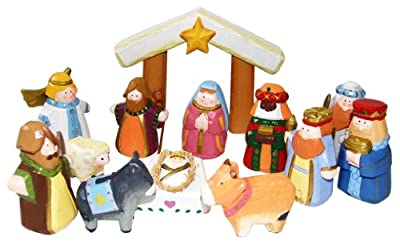 Kurt Adler J3764 10.5-Inch Hand-Carved Child's 1st Nativity Set