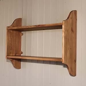 2 tier pine wall shelf antique pine. Black Bedroom Furniture Sets. Home Design Ideas