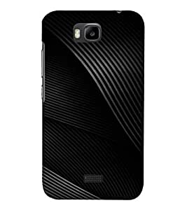 PrintVisa Black And Grey Wave Pattern 3D Hard Polycarbonate Designer Back Case Cover for Huawei Honor Bee
