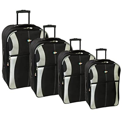 Karabar Set of 4 Super Lightweight Suitcases (Black/Silver) by Karabar