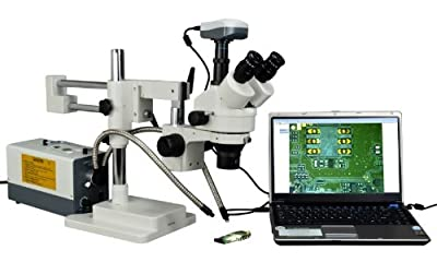 OMAX 2X-270X Digital Zoom Trinocular Dual-Bar Boom Stand Stereo Microscope with Cold Y-Type Gooseneck Fiber Light and 9.0MP USB Camera by OMAX