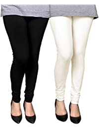 BONITO Women's Cotton Churidar Leggings Combo (Pack Of 2 Black & Off White) - Free Size