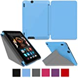 rooCASE Amazon Kindle Fire HDX 7 Ultra Slim Case Hülle - Horizontal Vertikal Ständerfunktion Cover mit Unterstützt Sleep / Wake Funktion (blau - Origami)