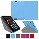 """rooCASE Amazon Kindle Fire HDX 7 Case - (2014 Current Generation) Origami Slim Shell 7-Inch 7"""" Cover with Landscape, Portrait, Typing Stand - BLUE (With Auto Wake / Sleep Cover)"""
