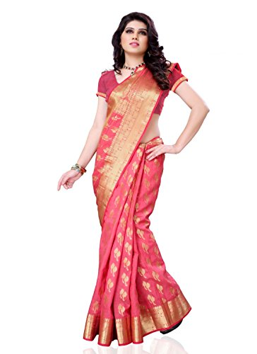 Meghdoot Tassar Silk Zari Saree (Mt232_Strawberry _Pink)