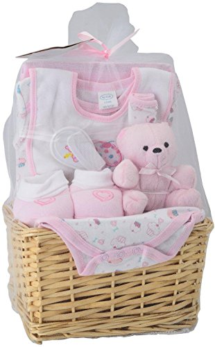 Big Oshi Baby Essentials 9-Piece Layette Basket Gift Set, Pink, 0-6 Months (Gift Basket Baby compare prices)