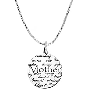 "Sterling Silver ""Mom, Understanding, Warm, Wise, Strong, Loving, Sweet, Devoted, Beautiful, I Love You"" Circle Graffiti Pendant, 18"""