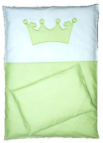 babymajawelt BABY BETTWÄSCHE SET KRONE 4tlg- 135/100 Bett Set VOILE fürs BABYBETT 140/70 cm grün