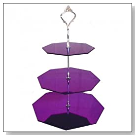 Three Tier 3mm Acrylic Purple Mirror Hexagon Cake Stand (24 cup cakes) (15 & 19 & 23 H32cm) (6 & 7.5 & 9 H12.5inch)