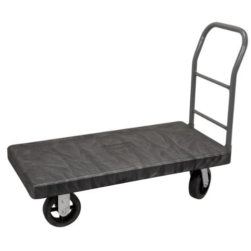 Akro-Mils V90182A1412 VERSA/Deck 2000-Pound Cap 24-Inch by 48-Inch Plastic Platform Truck with 8-Inch Mold-On Rubber Casters and Crossbar Swayback Handle, Black