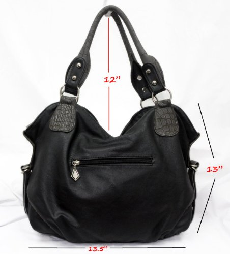 Big Hobo: Double Side Zip NYC Designer HOBO Fashion shoulder purse for women girl handbag fitted with spacious compartment from DG Inspired