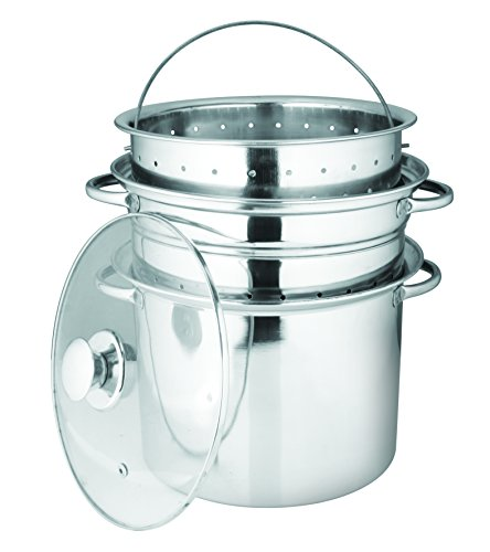 Dozenegg Stainless Steel 4-Piece Pasta Cooker Steamer with Encapsulated Bottom, 8-Quart