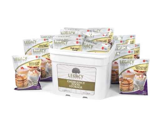 Long Term Dehydrated Food Storage - 120 Breakfast Servings - Disaster Preparation Freeze Dried Supply Kit - Individual Meals in Sealed Bucket - Easy to Prepare: Just Add Water