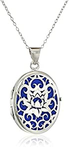Sterling Silver Italian Lotus Flower Locket Necklace, 18""