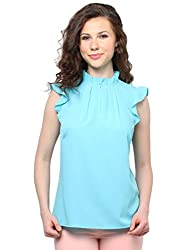 XNY Turquoise Frill Collar Top