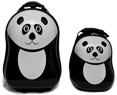 Travel Buddies Pom Panda Luggage Set for 24 - months (Black, 2 Pieces) by TrendyKid