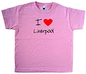 I Love Heart Liverpool Pink Kids T-Shirt (Black & Red print)-2-3 Years