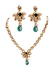 Rubera's Kundan Necklace Set With Ruby Drops - B00SR0SKAC