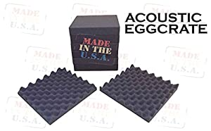 [Mybecca] 2 PACK Acoustic Eggcrate Design Soundproofing Wall Tiles 12 X 12 X 2 inch, Made in USA