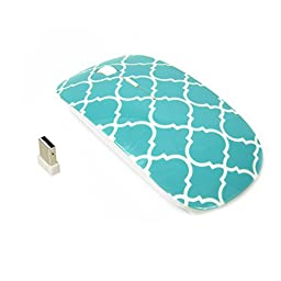 TopCase Quatrefoil / Moroccan Trellis Series Hot Blue / Turquoise USB Optical Wireless Mouse for Macbook (pro , air) and All Laptop + TopCase Designed Chevron Mouse Pad