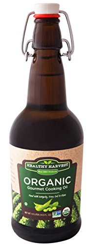 Healthy Harvest Certified Organic Gourmet Soybean Cooking Oil - Healthy Cooking Oil for Cooking, Baking, Frying & More - Naturally Processed to Retain Natural Antioxidants {Half Liter - 16.9 oz.}