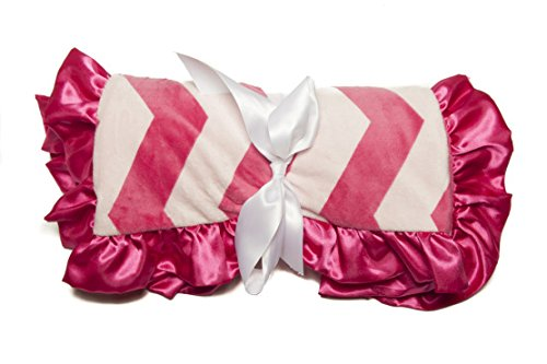Minky Baby Blanket Wide Chevron Ultra-Soft Rose Buds, 36IN X 30IN, Hot Pink